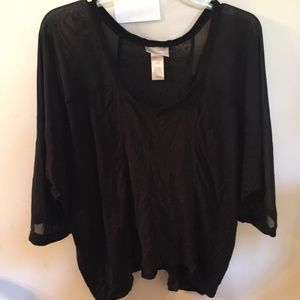Lane Bryant  Plus Size Black Sheer Blouse